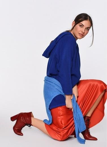 Loves You Eteği Büzgülü Kapüşonlu Triko Tunik Elbise Saks